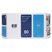 HP Kасета цветна No.80, 175ml (DesignJet 1050/1055CM), Cyan - C4872A