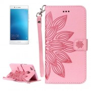 Huawei P9 Lite Crazy Horse Texture Half Flower Printing Horizontal Flip Leather Case with Holder & Card Slots & Wallet & Lanyard(Pink)