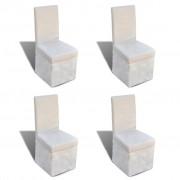 vidaXL Set 4 scaune pentru bucătărie, Alb-crem