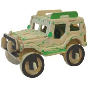 Magideal DIY 3D Wooden Jigsaw Jeep Model Construction Kit Toy Puzzle Gift