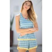 Pijama Feminino Mixte Adulto Blusa Regata com Short - Azul Celeste ou Mescla