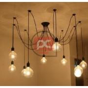 Lámpara de 10 bombillas con rosca E27 con 276cm de cable