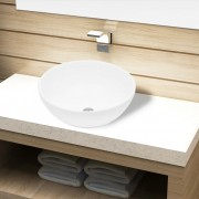 vidaXL Кръгла керамична бяла мивка с корито