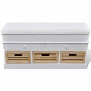 vidaXL Пейка за входното антре с чекмеджета, цвят бял