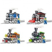Building Blocks Train Sets 4 Individual Building Brick Playsets with 344-Pcs Toy Bricks Included - 4 Separate Lego Compa