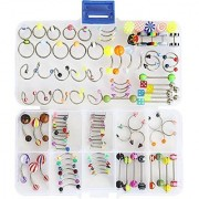 Oasis Plus 100pcs 15 Styles 14g 16g Mix Body Piercing Jewelry Kit Navel Belly Button Ring Ear Tongue Nipple Rings Nose Eyebrow Barbell with Jewelry Box