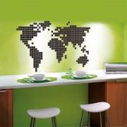 SticKAZ - Decorazione in pixel puzzle - Cartina del mondo - globo continenti