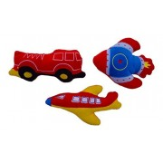 Baby Boy Rattles Baby Boy Plush Rattle Set - Plane, Fire Truck, and Rocket - Development Toys, Best Gift for Baby Showers and Infants