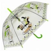 Deštník dámský holový průhledný zelený 9164-3 9164-3