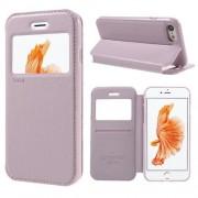 Husa iPhone 7 Flip Cu Stand Si Fereastra ROAR KOREA Series Roz