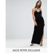 ASOS PETITE Exclusive Caged Maxi Dress with Split - Black (Sizes: UK 12, UK 8, UK 16, UK 4, UK 2, UK 6, UK 10, UK 14)