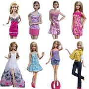 Princesa Fantasias Para Barbie Doll Púrpura / Branco Estampado Vestidos / Saias / Calças / Blusas