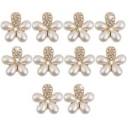 Phenovo Flower Faux Pearl Rhinestone Buttons Fit Sewing Scrapbooking 10Pcs