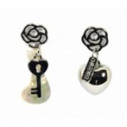 Náušnice klíč a srdce 32075 Stříbrná 32075