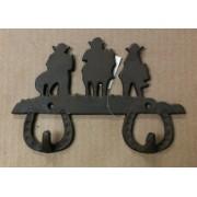 Cast iron cowboys on horses double hook wall hanger