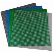 15.75 X 15.75 Green Blue Gray and Clear Construction Base Plates - 4 Pack Bundle - LEGO Compatible