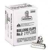 "Bulldog Clips, Steel, 1/2"" Capacity, 2-1/4""w, Nickel-Plated, 36/box"
