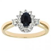 Bague Femme - Or jaune (9 carats) 2.9 Gr - Saphir - Diamant 0.77 Cts - T 46.5