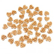 """Imported 50Pcs """"BEST DAY EVER"""" Wooden Heart Chips Wedding Decor Embellishments Crafts"""