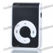 USB rechargeable Lecteur d'écran gratuit-MP3 avec TF Slot/3.5mm Audio Jack / Clip - Noir