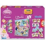 Társasjáték készlet Disney Hercegnők Superpack - 2x puzzle, 1x pexeso és 1x dominó Educa
