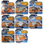 Hot Wheels 2015 Star Wars 8-Starship Collection (Slave-1, Snowspeeder, X-Wing Fighter, TIE Fighter, Y-Wing Fighter, Millennium Falcon, Ghost, Vulture Droid)