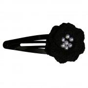 Clama de par, dama, Buticcochet, crosetata manual, Floare Negru, cu Bilute Albe