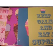 Top Flight 4 Folder Set ~ Ice Cream Treats, Cupcake, Keep Calm and Eat a Cupcake, Theres Always Room for Sweets