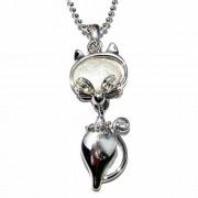 Cat Swarovski Clear Crystal Animal Pet Pendant Necklace