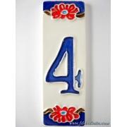 Numero civico ceramica con fiore nfp4