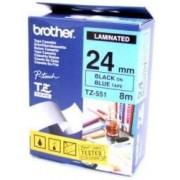 Bandă laminată Brother TZ551, TZ 8m/24mm negru/albastru