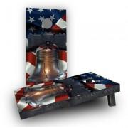 Custom Cornhole Boards Liberty Bell Over American Flag Cornhole Game Set CCB180-2x4-AW / CCB180-2x4-C Bag Fill: All Weather Plastic Resin