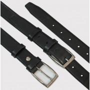 Czarny klasyczny skórzany pasek do garnituru, z imitacją obszycia