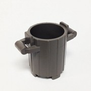 Lego Parts: Trash Can Container with 2 Cover Holder Tabs (Old Dark Gray)