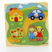 VolksRose® 4 Pcs Wooden Matching Pegged Puzzles - House Car Tree Kid Pattern - Creative Wood Educational Shape and Color Puzzle - Perfect Christmas Gift for Your Kids
