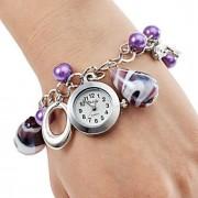 Mulheres Relógio de Moda Quartz Aço Inoxidável Banda Roxa marca-