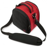 (Red) Laurel VG Camera Bag w/ Removable Shoulder Strap for Nikon Coolpix P530 / P600 / D7100 / L820 / P520 / D750 / D810