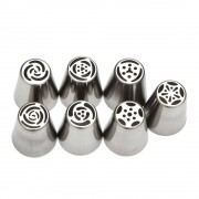 rosegal 7pcs DIY Stainless Steel Buttercream Icing Piping Nozzles Baking Tools