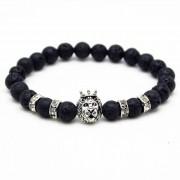Memphis kralen armband Lavasteen Lionhead Silver