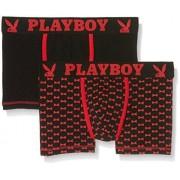 Playboy 40H041, Calzoncillos Para Hombre, Multicolor (Noir Rouge/Imprimé Nœud), X-Large, Pack de 2