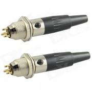 HF bricolage 4 broches m?le et femelle Jack Set adaptateurs connecteurs - Noir + argent (2 PCS)