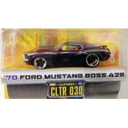 Dub City Big Time Muscle / 70 Ford Mustang Boss 429 / Black & Burgundy W Silver Stripes / Cltr 030 / 1:64 Scale Die Cast Collectible / Jada Toys 2005