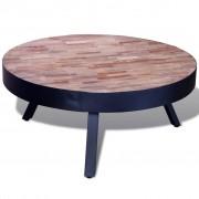 vidaXL Konferenční stolek kulatý regenerovaný teak