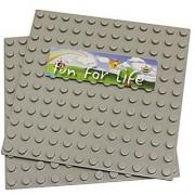 LEGO DUPLO (big dot) Compatible Mega Bloks Compatible Brick Building Base 7.5 x 7.5 (2 pcs) Gray Baseplate - by Fun For
