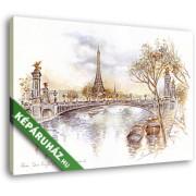 BADQUALITY!Szajna-part, háttérben az Eiffel-toronnyal (35x25 cm, Vászonkép )