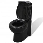 vidaXL Čierna keramická rohová toaleta WC