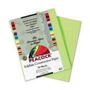 Peacock Sulphite Construction Paper, 76 lbs., 9 x 12, Hot Lime, 50 Sheets/Pack