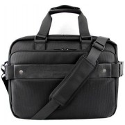 Macaroni Pelle 15.6 inch Soft Messenger Briefcase with Handles and Strap-Black