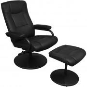 "vidaXL ""Czarny skórzany fotel TV z podnóżkiem"""