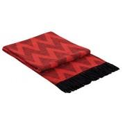Manta de lana con franja , 130 X 185 cm, 20% Lana, modelo Palma,color negro-rojo